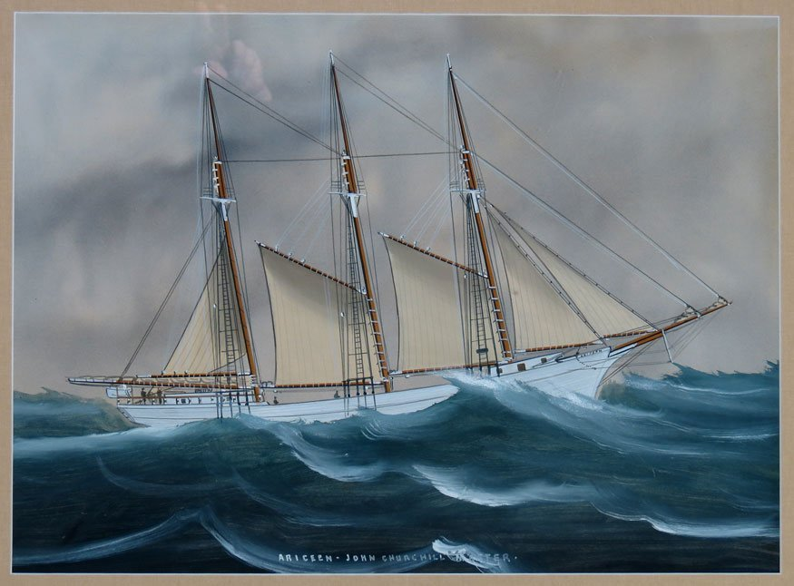 20: SHIP WATERCOLOR, 19th c.