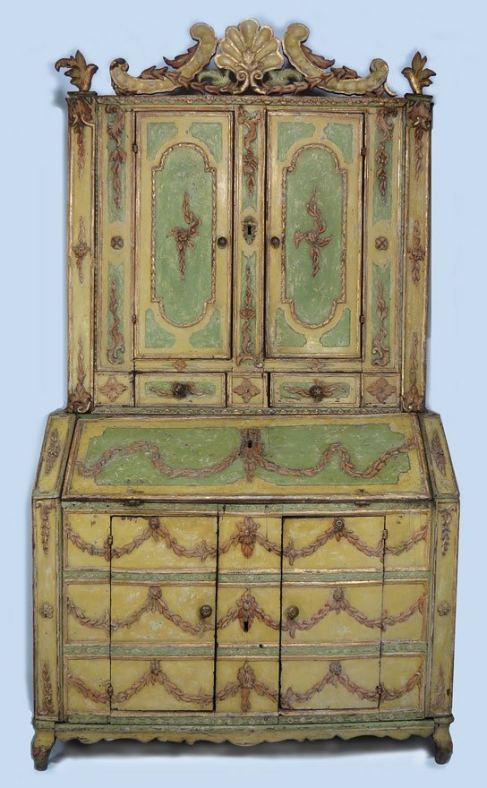 134: 18TH C. VENETIAN PAINT DECORATED TWO-PART SECRETAR