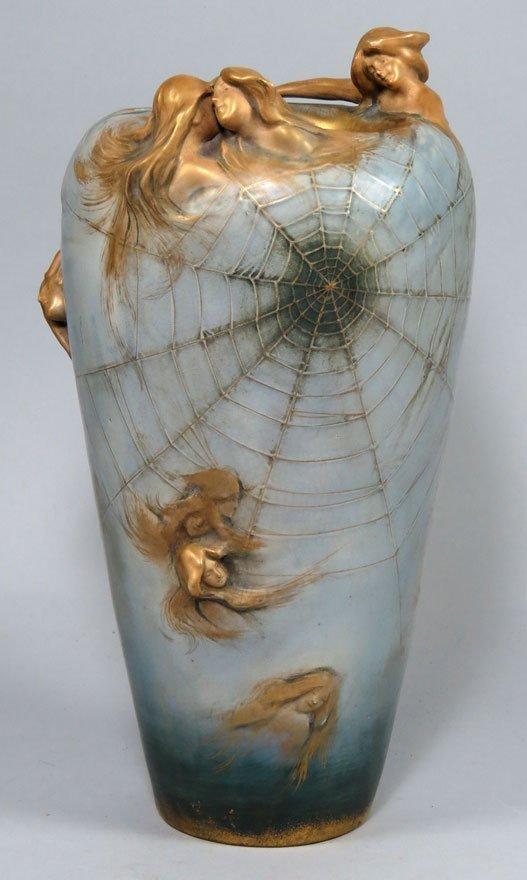 Art Nouveau Pottery Vase Amphora