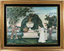 EXCEPTIONAL AMERICAN MOURNING PICTURE, WOOD