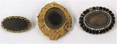 (3) VICTORIAN HAIR AND GOLD PINS