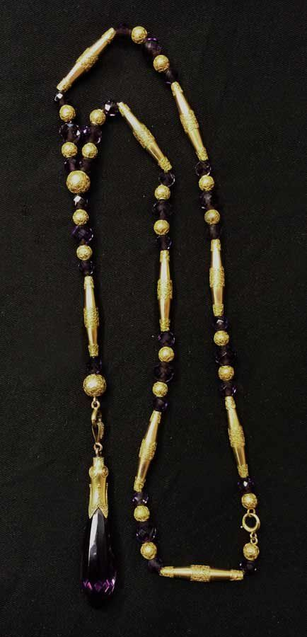 VICTORIAN 14K GOLD AND AMETHYST NECKLACE