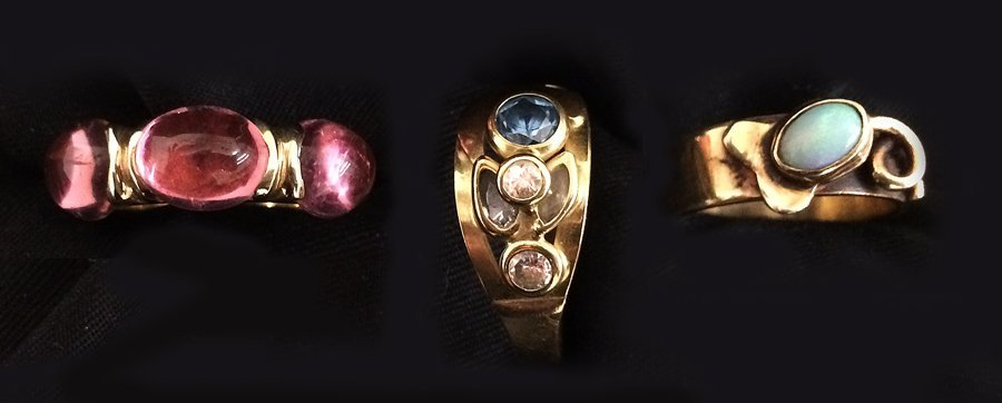 (3) 14K GOLD CONTEMPORARY  RINGS