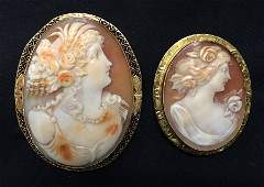 (2) VICTORIAN CARVED SHELL CAMEOS