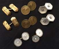 (4) PAIRS OF 14K GOLD CUFFLINKS