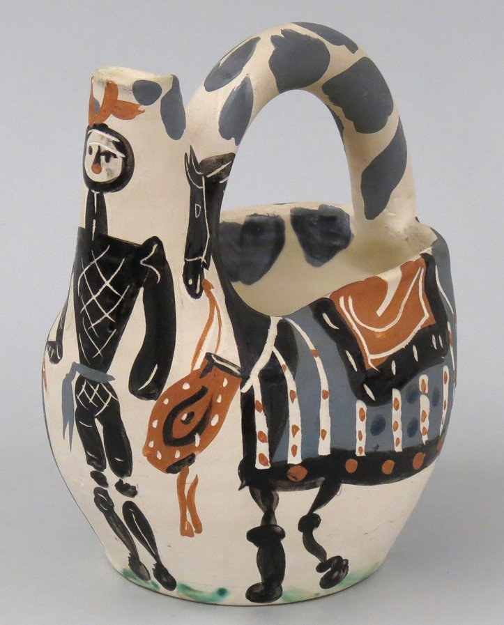 PABLO PICASSO PAINTED CERAMIC PITCHER