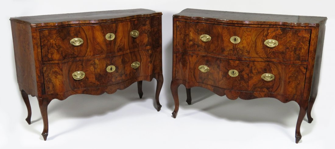 FINE PAIR OF ITALIAN ROCOCO BURL WALNUT VENEERED