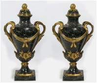 IMPRESSIVE PAIR OF FRENCH ORMOLU AND MARBLE URNS