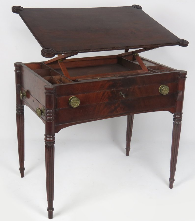 RARE SALEM FEDERAL MAHOGANY ARCHITECT'S TABLE