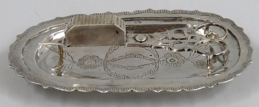 SPANISH COLONIAL SILVER SNUFFER AND DISH