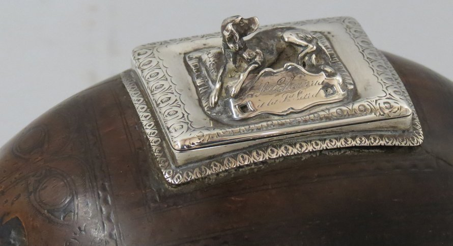 SPANISH COLONIAL SILVER MOUNTED COCONUT MONEY BOX - 2