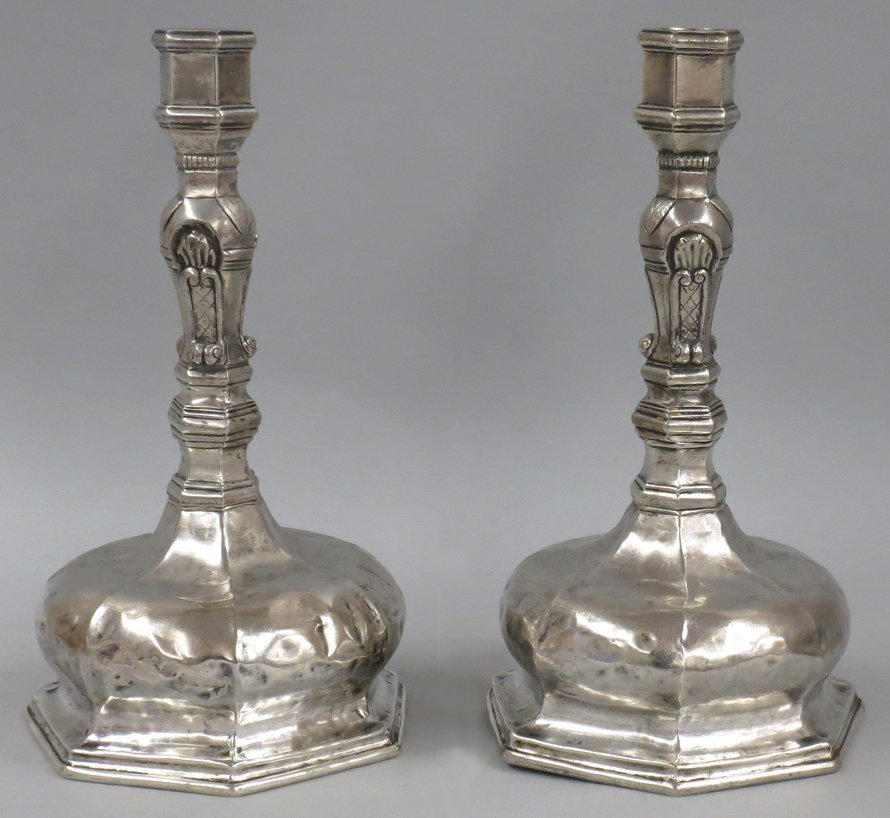 PAIR OF SPANISH COLONIAL SILVER CANDLESTICKS