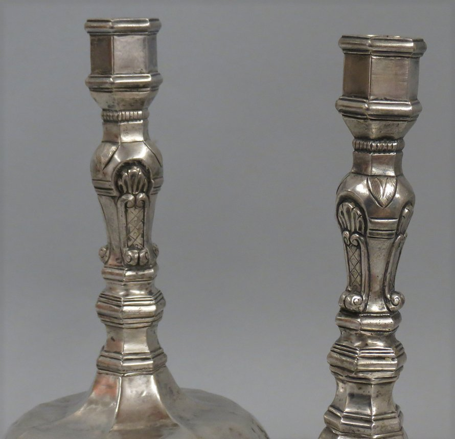 PAIR OF SPANISH COLONIAL SILVER CANDLESTICKS - 2