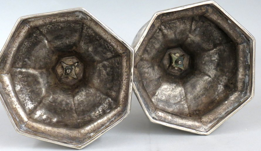 PAIR OF SPANISH COLONIAL SILVER CANDLESTICKS - 3