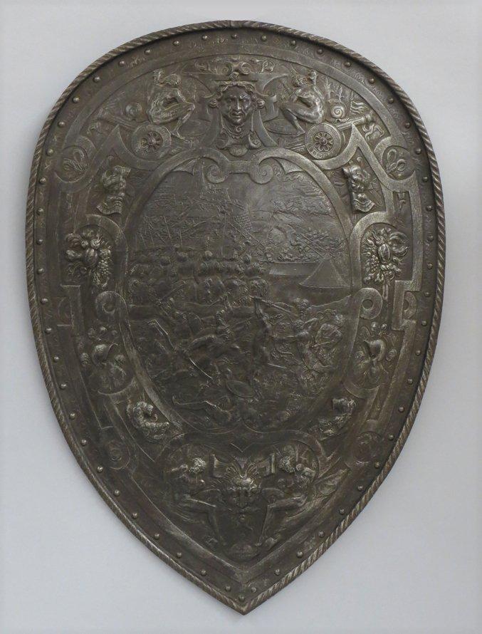 ITALIAN CAST IRON PARADE SHIELD, HENRY II
