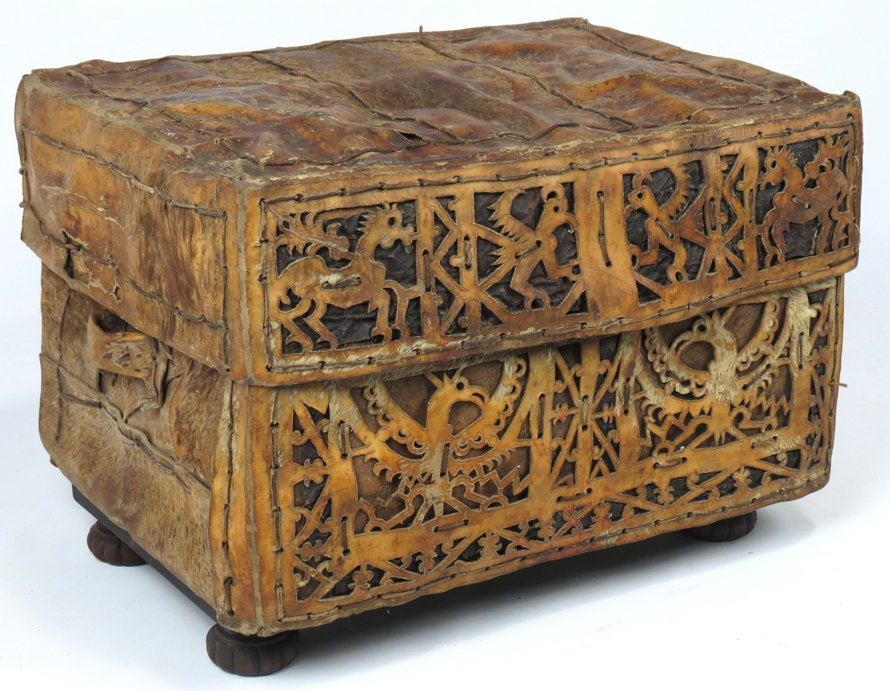 SPANISH COLONIAL RAWHIDE TRAVEL CHEST (PETACA)