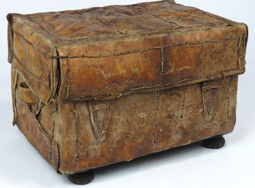 SPANISH COLONIAL RAWHIDE TRAVEL CHEST (PETACA) - 2