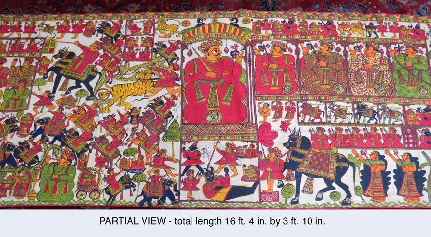 INDIAN HINDU NARRATIVE SCROLL PAINTING
