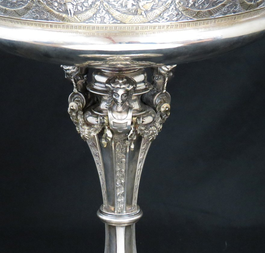 GORHAM STERLING SILVER CLASSICAL FIGURAL TAZZA - 2