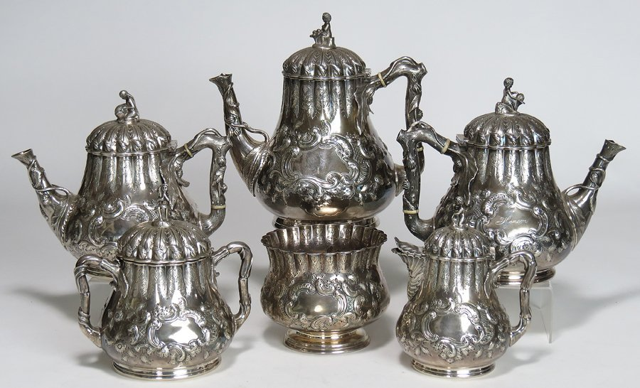 (on 6) CALDWELL STERLING SILVER TEA AND COFFEE SERVICE