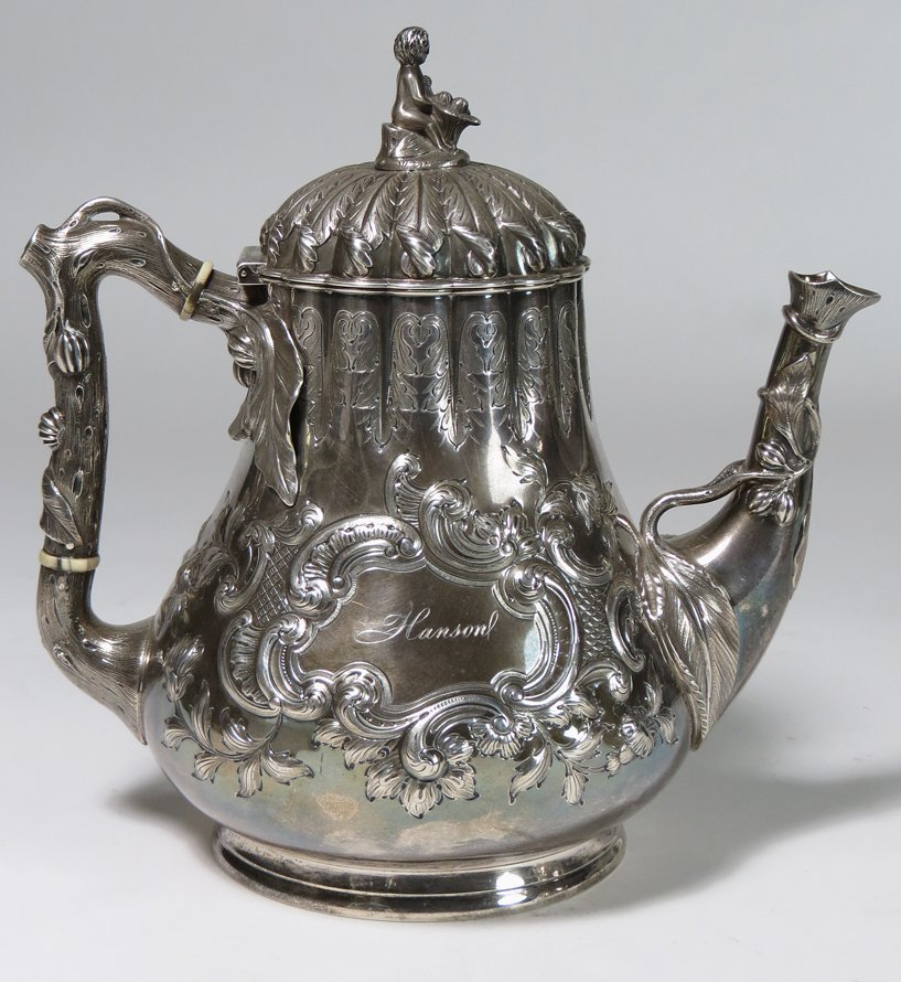 (on 6) CALDWELL STERLING SILVER TEA AND COFFEE SERVICE - 3