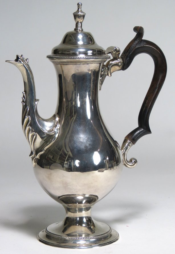 GEORGIAN SILVER FOOTED COFFEE POT