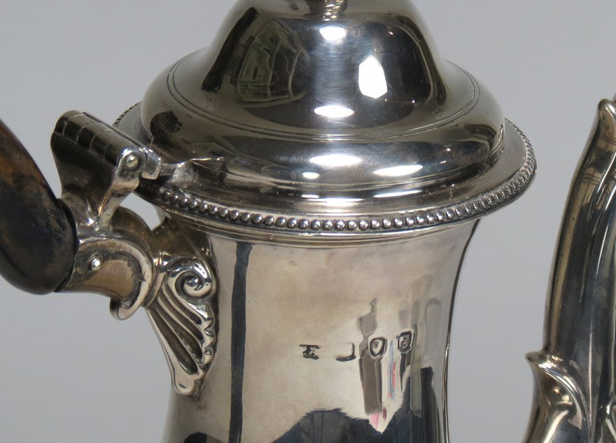 GEORGIAN SILVER FOOTED COFFEE POT - 2