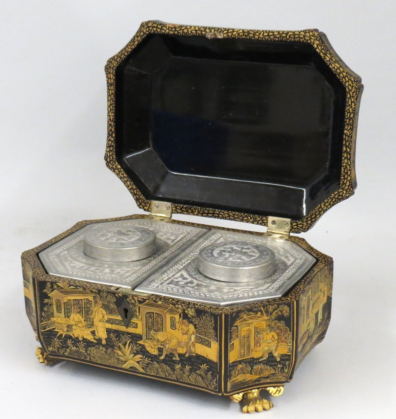 CHINESE LACQUER TEA CADDY - 2