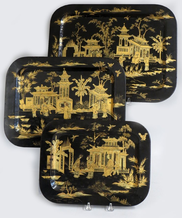 NEST OF (3) CHINESE EXPORT DECORATED LACQUER TRAYS