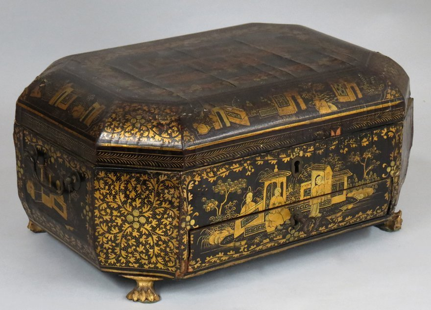 CHINESE LACQUERED SEWING BOX