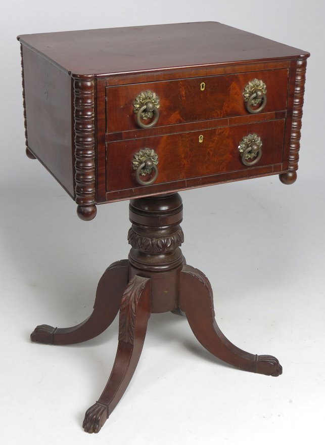 NEW ENGLAND FEDERAL MAHOGANY 2-DRAWER STAND