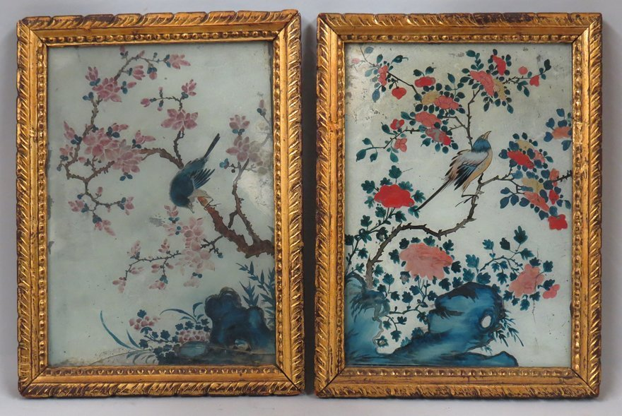 PAIR OF CHINA TRADE REVERSE PAINTINGS ON GLASS