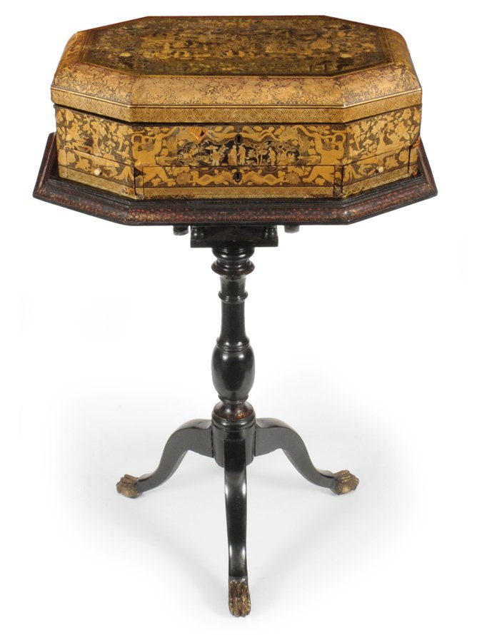 19TH C. CHINA TRADE CHINOISERIE SEWING BOX ON STAND