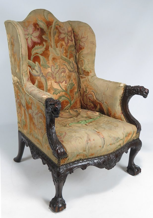 18TH C. IRISH FIGURAL CARVED MAHOGANY WING CHAIR