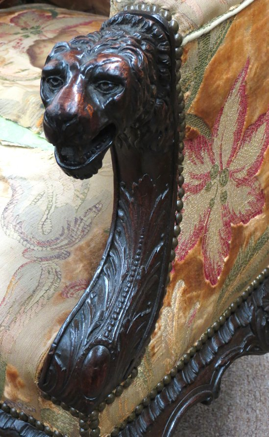 18TH C. IRISH FIGURAL CARVED MAHOGANY WING CHAIR - 2