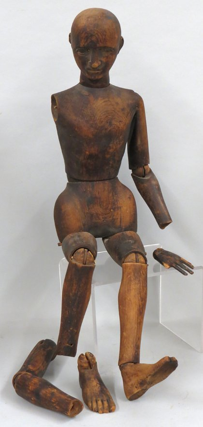 LARGE 19TH C. ENGLISH WOODEN LAY FIGURE