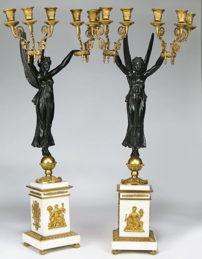 PAIR OF FRENCH FIGURAL BRONZE CANDELABRA