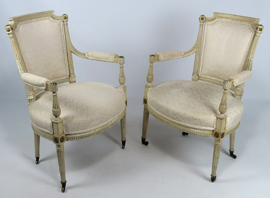 PAIR OF FRENCH LOUIS XVI FAUTEUIL