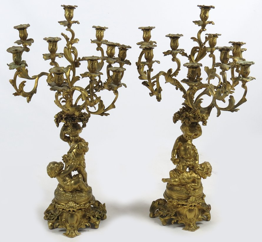 LARGE PAIR OF FRENCH GILT BRONZE FIGURAL CANDELABRA