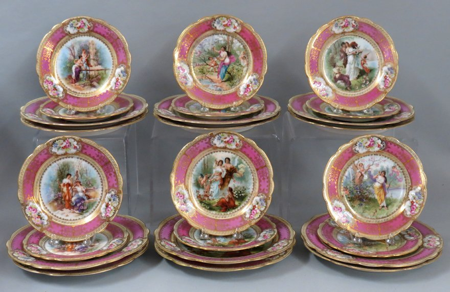 SET OF (24) AUSTRIAN HAND-PAINTED PLATES