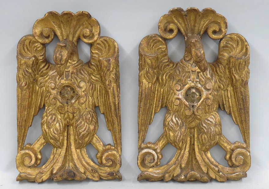 PAIR OF ITALIAN GILT CARVED EAGLE WALL PLAQUES