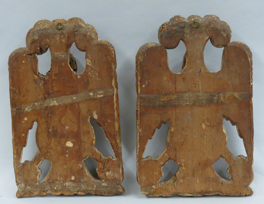 PAIR OF ITALIAN GILT CARVED EAGLE WALL PLAQUES - 2