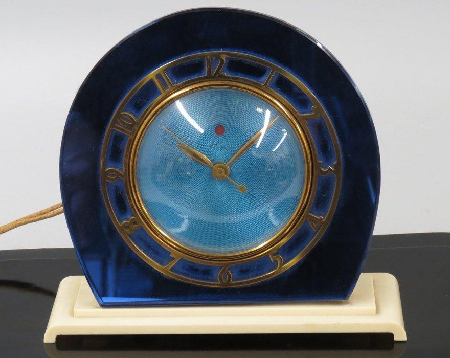 ART DECO BLUE-MIRRORED CLOCK