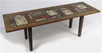 MID-CENTURY MODERN MOSAIC TILE-TOP TABLE, HOLLEMAN