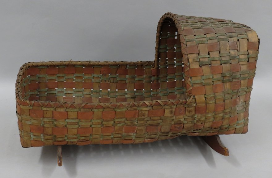 19TH C. MAINE NATIVE AMERICAN SPLINT CRADLE