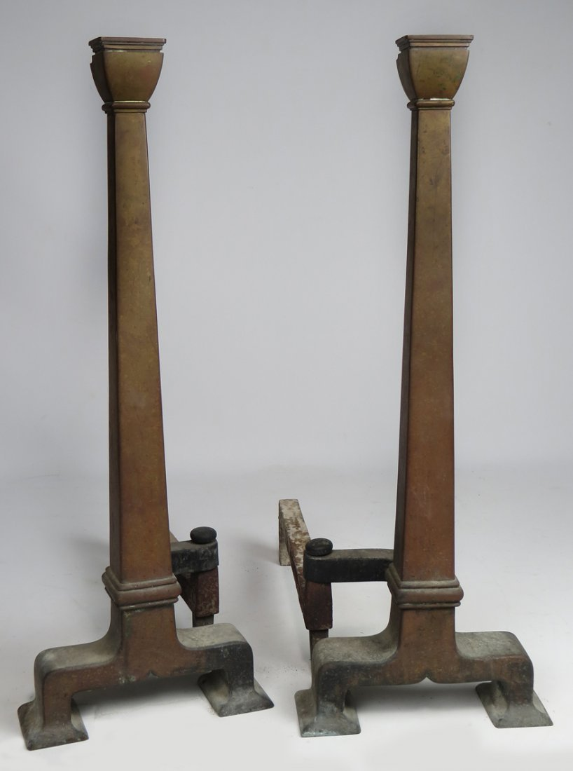 LARGE PAIR OF ARTS AND CRAFTS ANDIRONS