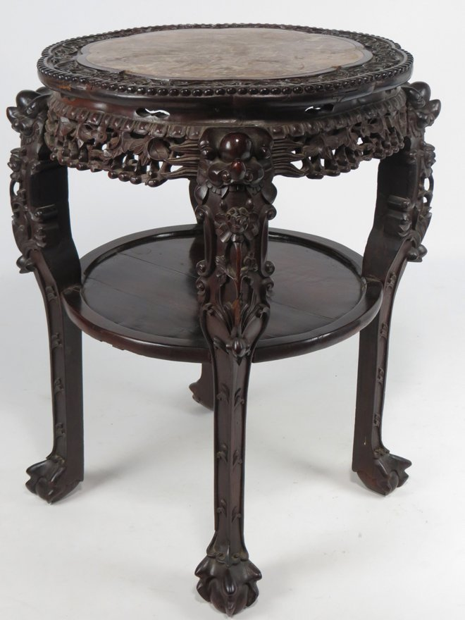LARGE CHINESE CARVED HARDWOOD STAND
