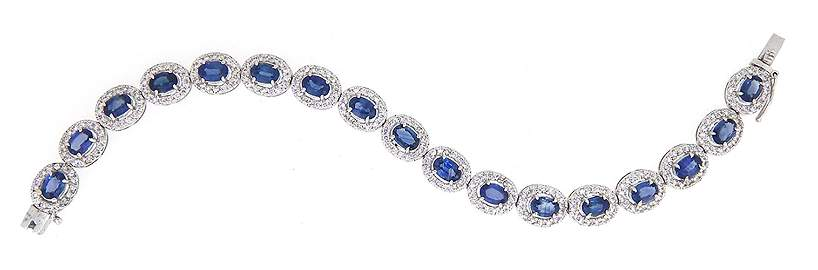 10.97 CT Sapphire & 2.87 CT Diamond Bracelet 14K White