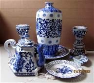 91206: Imari Porcelain 7 Piece Tea Set + Candlesticks