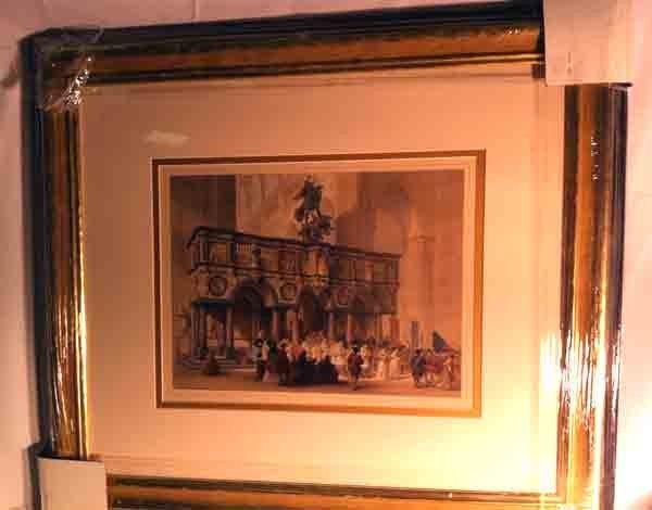 90994: Antique Architectural Engraving 1700's Color